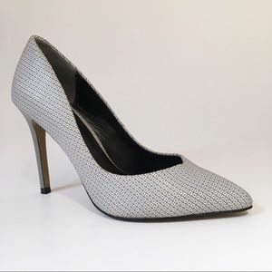 Reiss Millie Geo Print Court Shoes in Pale Gray